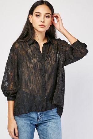 Sheer Chiffon Lurex Shirt