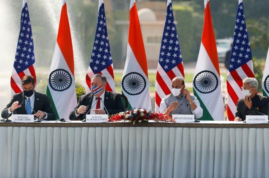 时任美国和印度的外长和防长2020年10月27日在新德里举行第三次2加2会谈(路透社)
