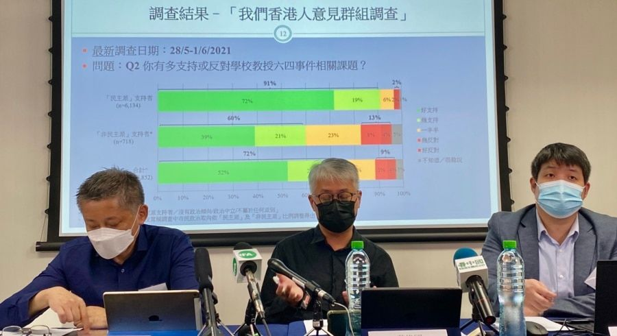 香港民意研究所公布最新民意调查显示,62%受访者反对悼念六四活动会危害中国国家安全 (美国之音/汤惠芸)