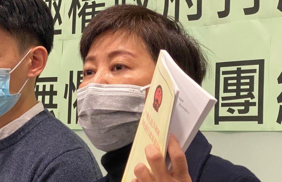 香港民主黨前立法會議員黃碧雲質疑國安法凌駕《基本法》。(美國之音 湯惠芸拍攝)