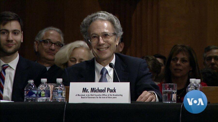 资料照片:被提名出任美国全球媒体总署首席执行官的派克出席参议院的提名审批听证会。(2019年9月19日)
