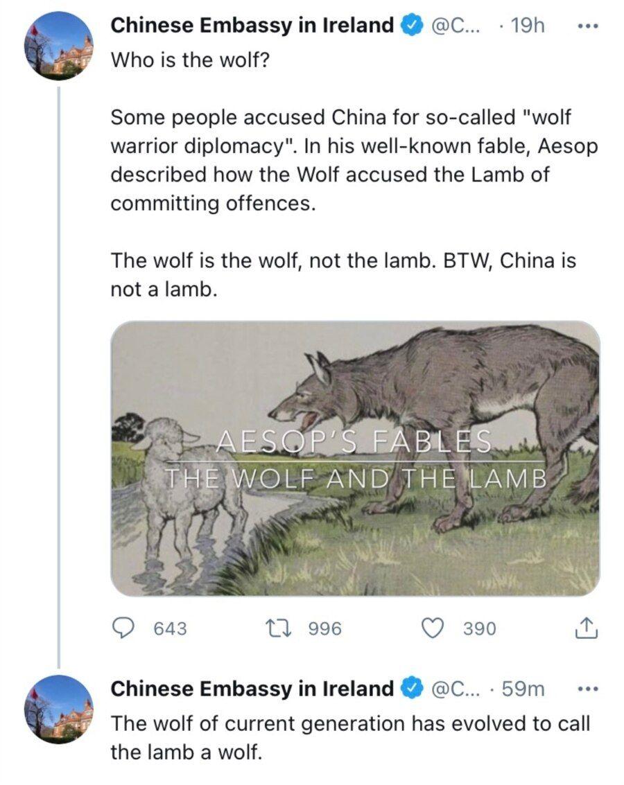 """中国驻爱尔兰大使馆的官方推特账号在一则推文中用《狼与小羊》的伊索寓言来反驳批评中国在进行""""战狼外交""""的人"""