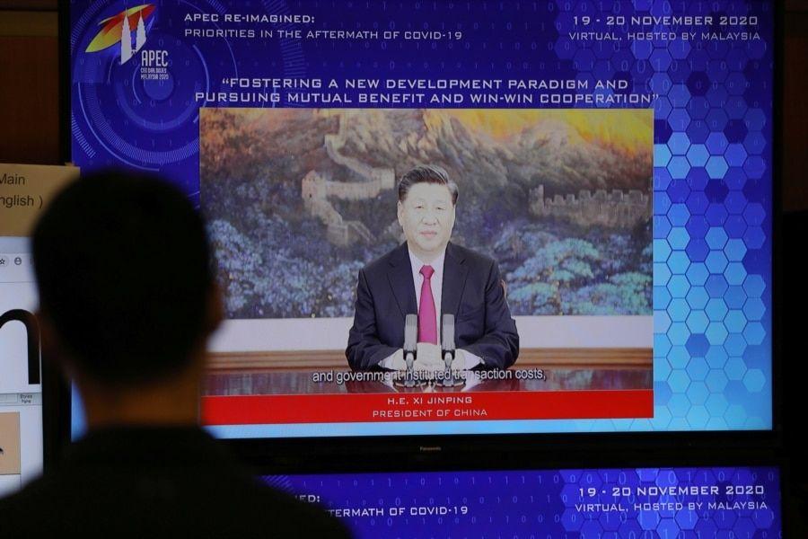 中国领导人习近平在APEC会议上发表视频讲话。(2020年11月19日)