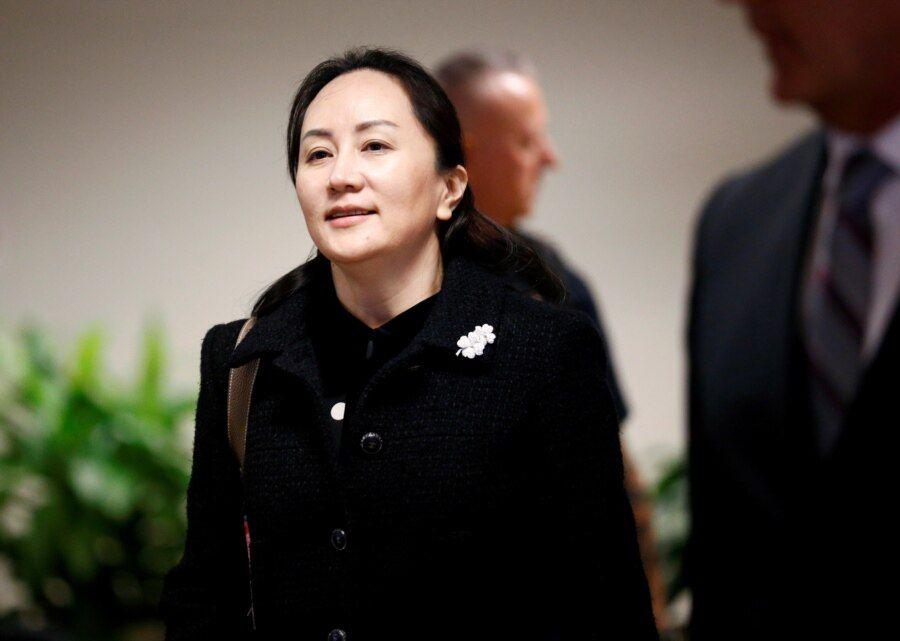 中国华为公司前首席财务官孟晚舟离开加拿大温哥华一家法院。(2020年1月20日)