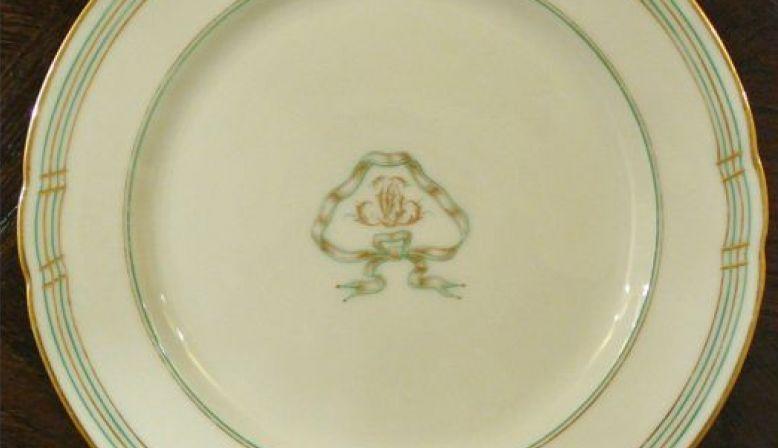 ANCIEN 2assiette presentoir mariage CD Napoleon III Porcelaine PARIS