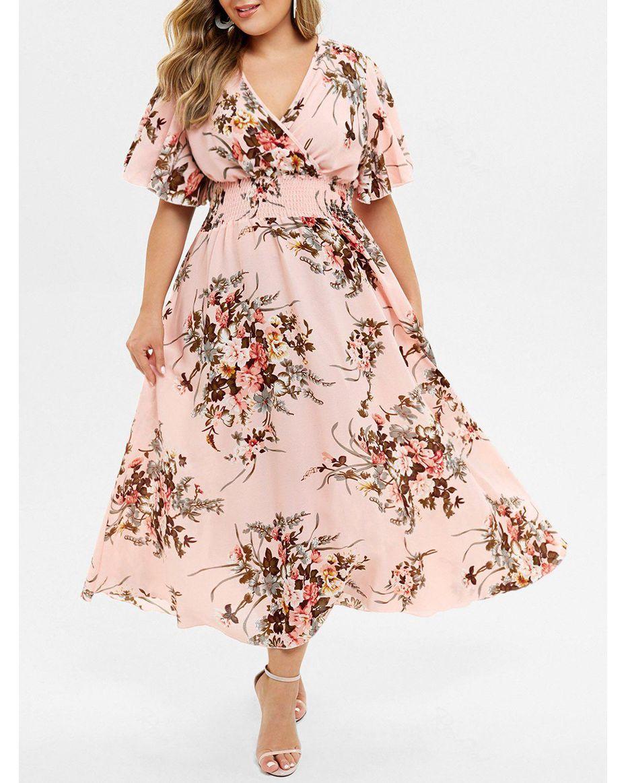 Plus Size Bohemian Maxi Floral Dress
