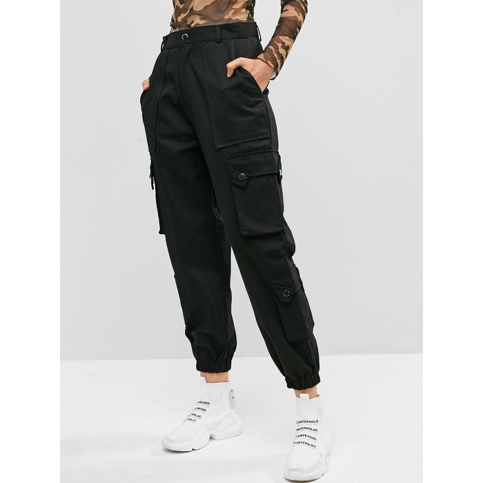 Pockets Solid Color Cargo Jogger Pants