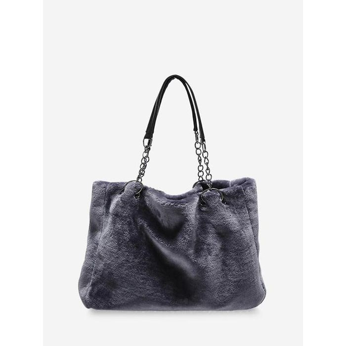Plush Solid Chain Rectangle Handbag