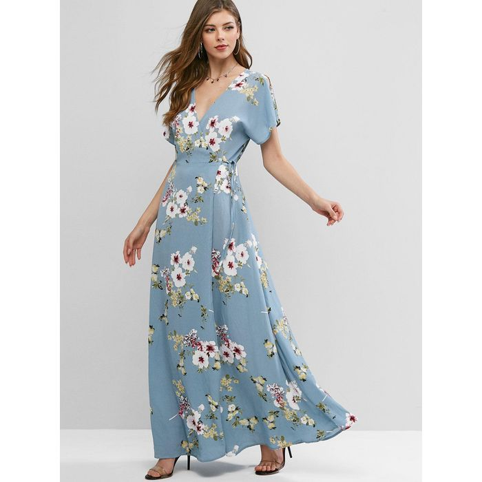 ZAFUL Floral Slit Sleeves Maxi Wrap Dress