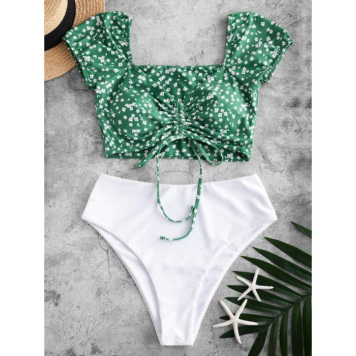 ZAFUL Ditsy Print Cinched Two Piece Swimsuit