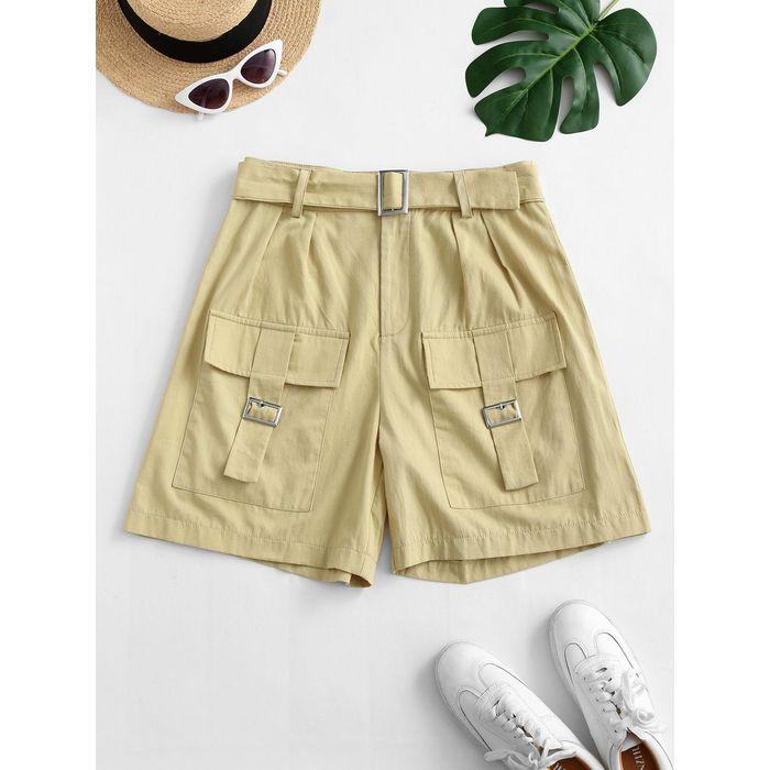 ZAFUL Flap Pockets Buckle Belted Utility Shorts