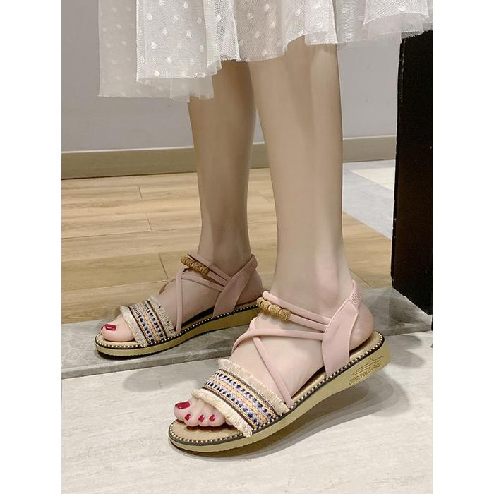Fringe Trim Ankle Strap Ethnic Sandals