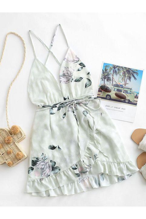 Floral Criss Cross Ruffles Mini Dress