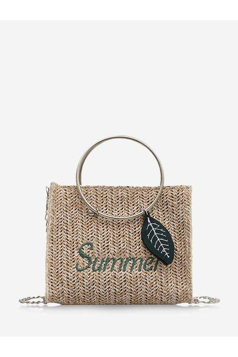 Letter Leaf Pattern Straw Handbag