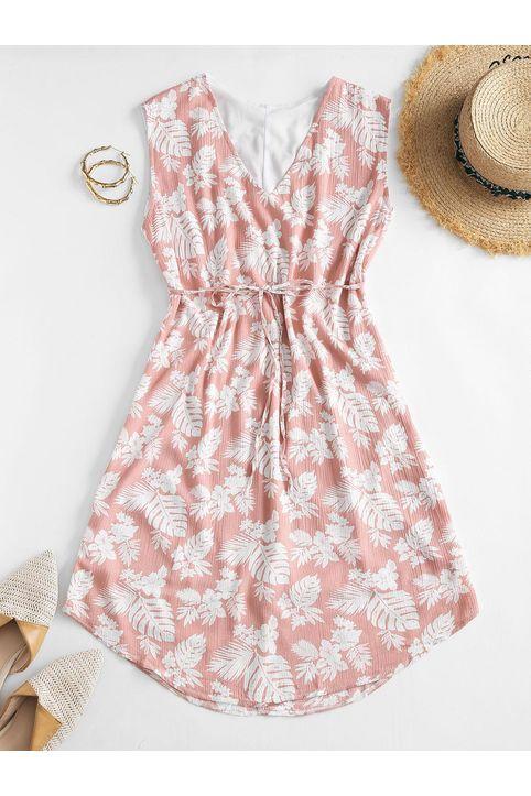 Belted Floral Leaves Print Mini Dress