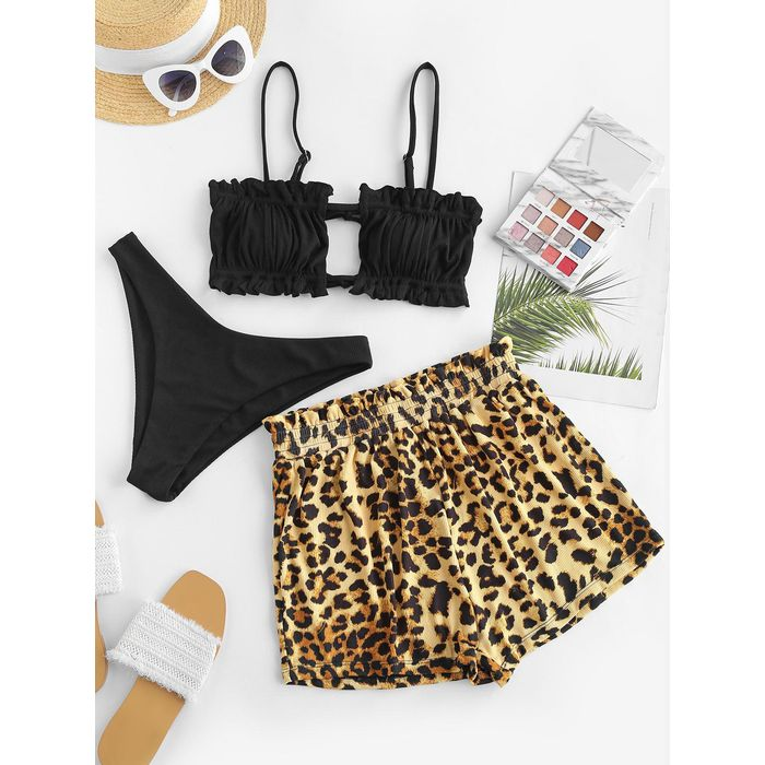 ZAFUL Leopard Ruffle Ribbed Three Piece Bikini Swimwear