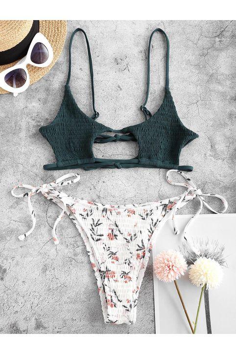 ZAFUL Flower Smocked Cutout Mix and Match String Bikini Swimwear
