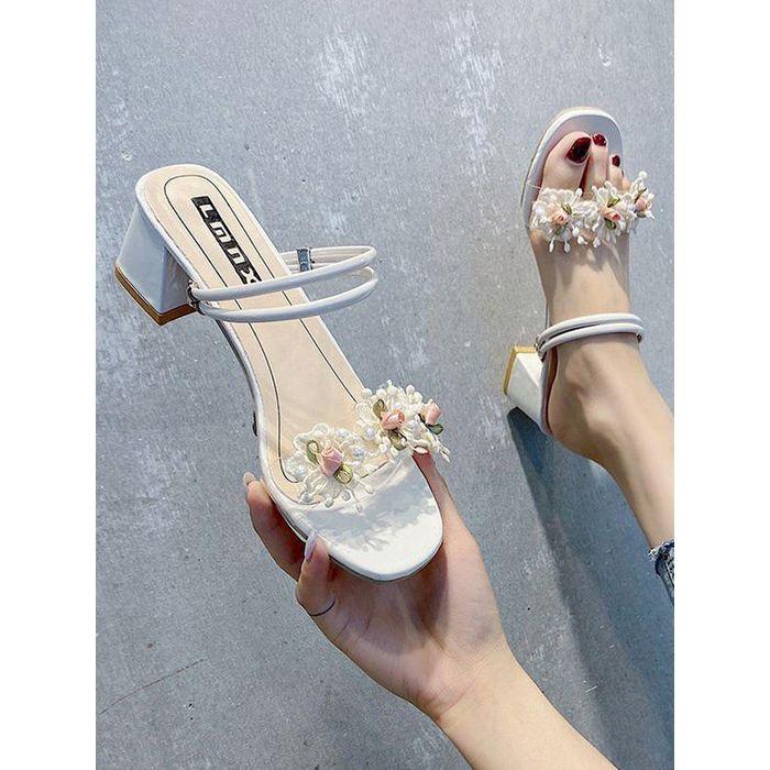 Flower Chunky Heel Slides Sandals