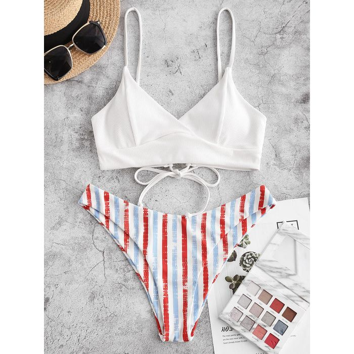 ZAFUL Ribbed Striped Lace-up Surplice Bikini Swimwear