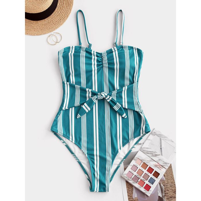 ZAFUL Ribbed Striped Tie Waist One-piece Swimsuit