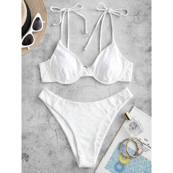 ZAFUL Eyelet Tie Shoulder High Cut Bikini Swimwear