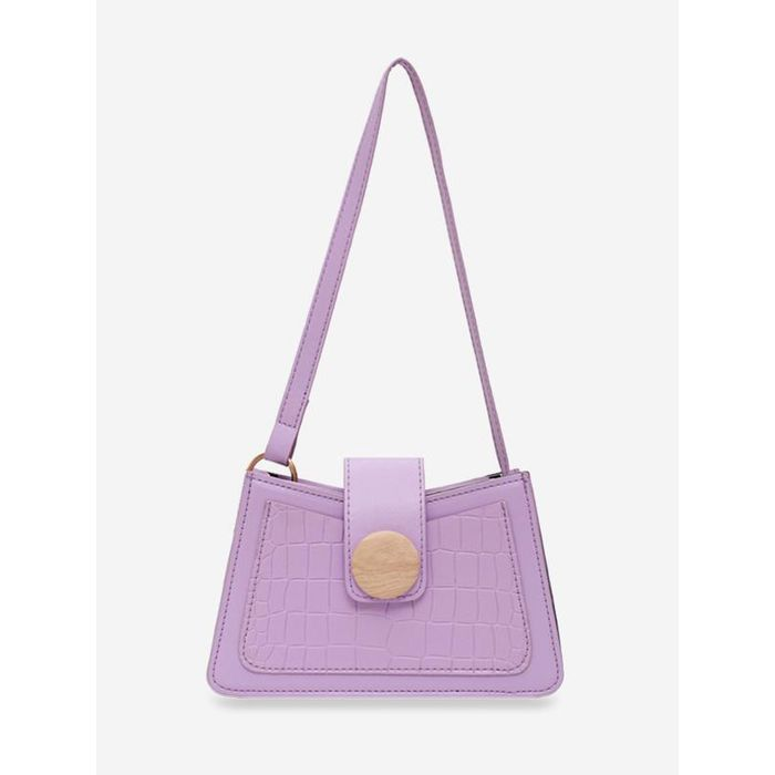 Animal Embossed Round Buckle Underarm Shoulder Bag