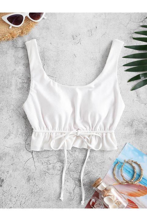 ZAFUL Ribbed Ruffled Drawstring Bikini Top