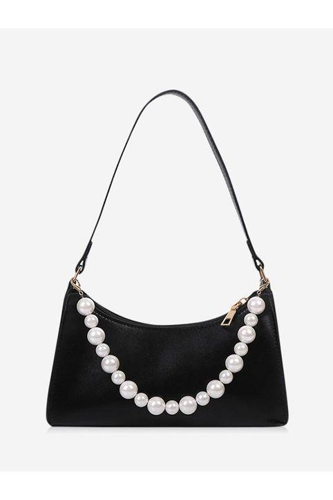 Faux Pearl Rectangle Shoulder Bag