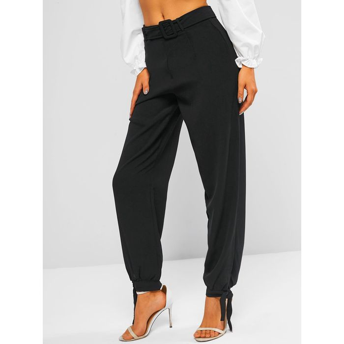 High Waisted Tie Hem Belted Pants