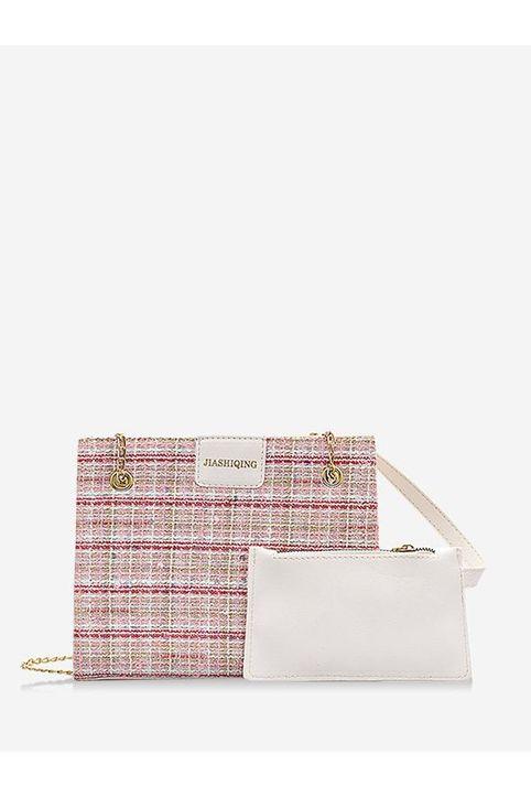 Plaid Pattern Sequin Chain Strap Shoulder Bag