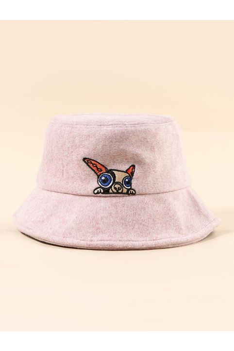 Puppy Embroidery Pattern Bucket Hat