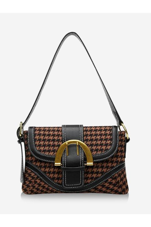 Retro Houndstooth Print Shoulder Bag