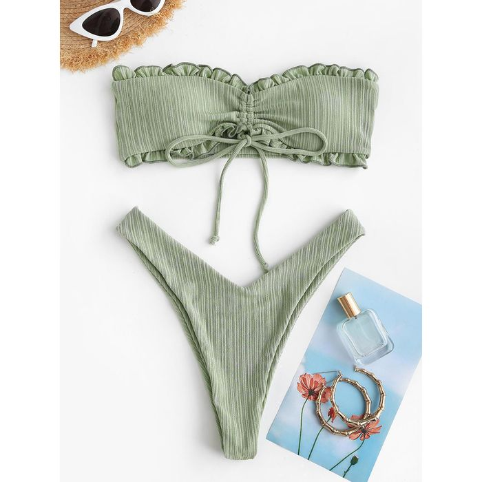 ZAFUL Cinched Ribbed Padded Bandeau Bikini Set