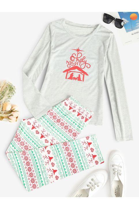 Christmas Pattern Long Sleeve Pajama Set