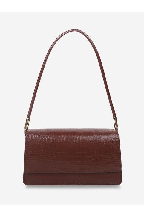 Embossed Flap Thin Strap Shoulder Bag