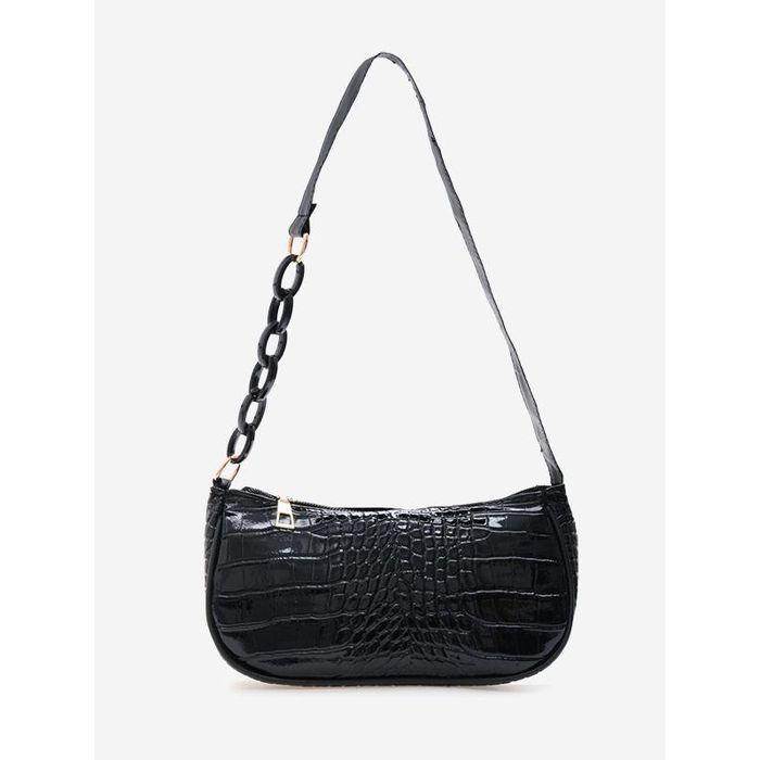 Half Chain Embossed Shoulder Bag