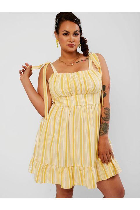 ZAFUL Plus Size Flounced Tie Shoulder Stripe Mini Dress