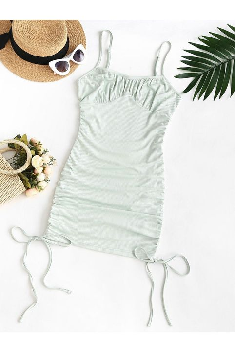 ZAFUL Plus Size Rib-knit Cinched Ruched Slinky Bodycon Cami Dress