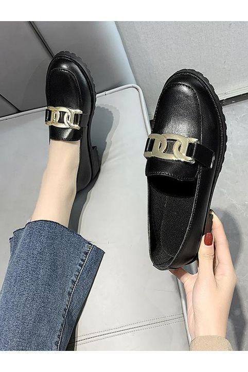 Chain Embellished Heeled Slip-On Shoes