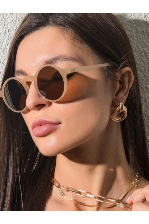 Round Frame Stud Detail UV Protection Sunglasses