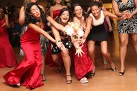 Ladies going for the bouquet toss!