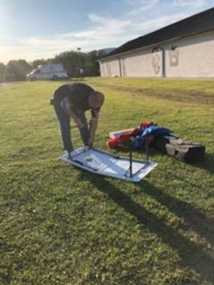 Setting up for the Cumberland Gap H.S. football game