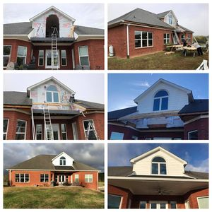 """Here are some pictures of a home in Ringgold that we recently completed. We removed an old double deck and door and added a new double casement window with a half-round top window. We also replaced the deck with a larger porch ceiling and tied the roof system together. We also added new 6"""" gutters the entire length of the home. Call us today for a free estimate and see why our customers recommend us to their friends and family!"""