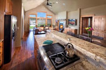 One Story, Four Bedroom Cabin Kitchen