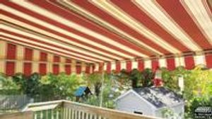 A. Hoffman Awning in Baltimore     410-685-5687     A beautifully striped sunbrella fabric deck awning has added an extra room and the owners of the home now have additional space for entertaining or sitting outside in the shade.