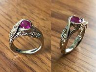 Beautiful custom designed ring, featuring a Burmese Ruby.