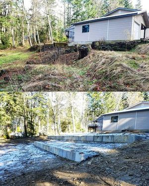Before & after picture of a ecology block retaining wall job