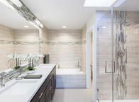 Sumptuous master bathrooms boast dual vanities, spa showers and relaxing soaking tubs.