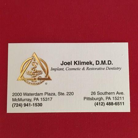 Dr. Klimek's business card.