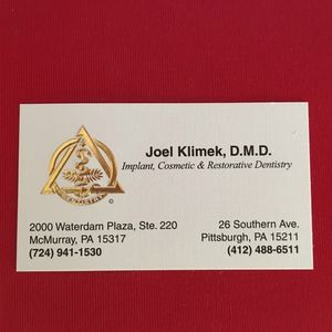 Dr. Klimek's business card.